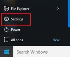 menu start windows 10