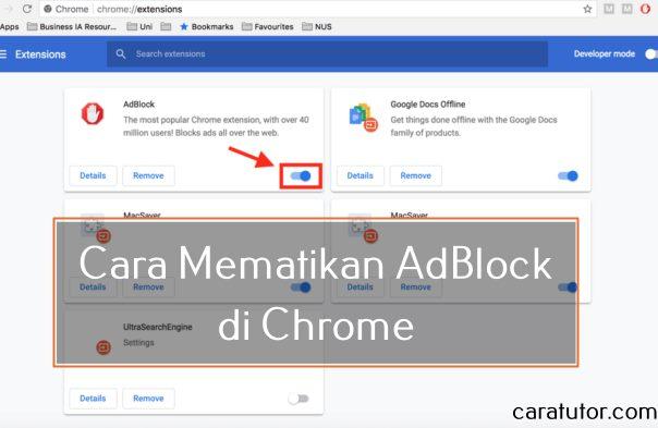 Cara Mematikan AdBlock di Chrome