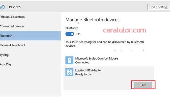 cara pair speaker Bluetooth dengan laptop