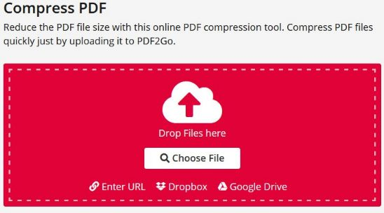 Memperkecil ukuran file PDF dengan menggunakan pdf2go.com