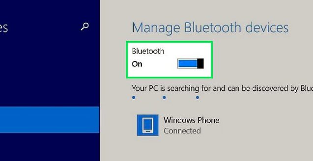 cara mengaktifkan bluetooth windows 8