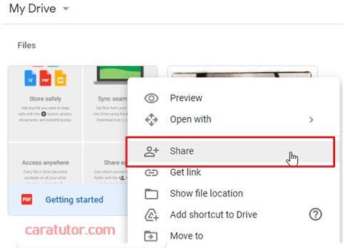 cara share file google drive